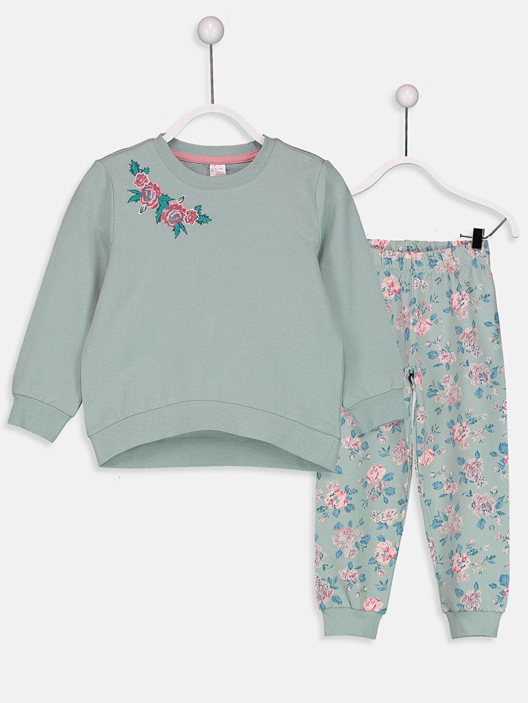 Yeşil Kız Çocuk Çiçekli Pijama Takımı 8W6559Z4 LC Waikiki