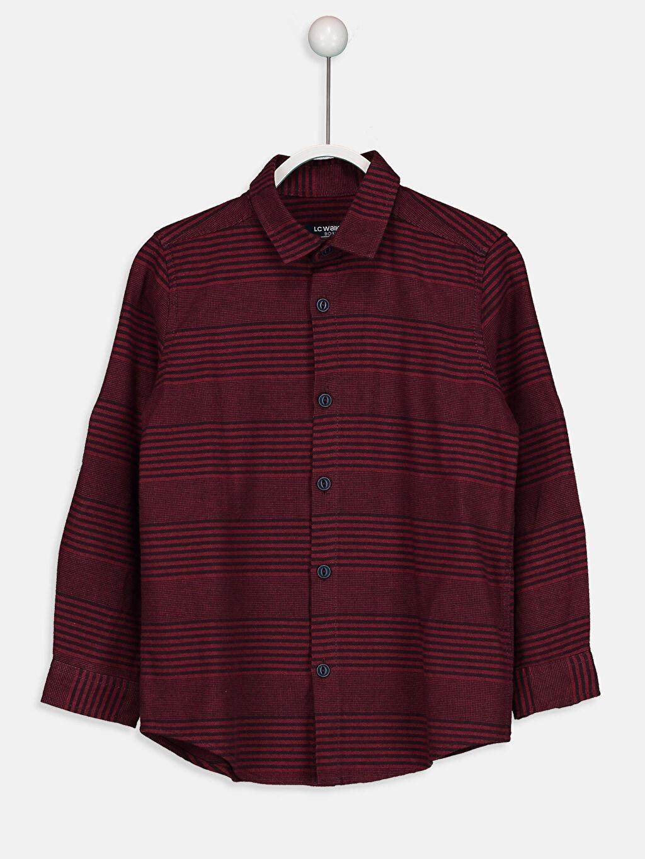%100 Pamuk Standart Uzun Kol Çizgili Çizgili Armürlü Gömlek