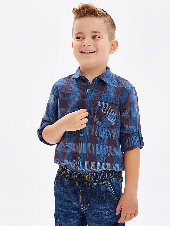 %100 Pamuk Erkek Çocuk Uzun Kollu Ekose Gömlek
