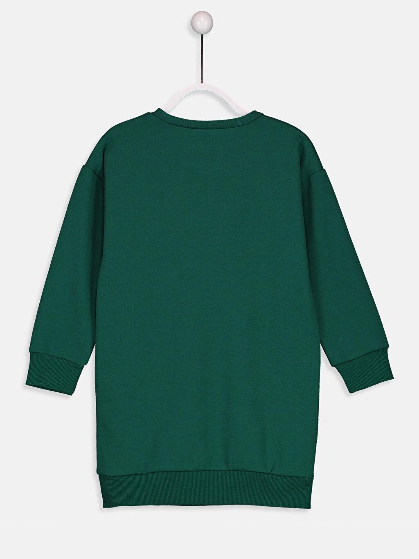 %51 Pamuk %49 Polyester Diz Üstü Desenli Kız Çocuk Aplike Detaylı Sweatshirt Elbise