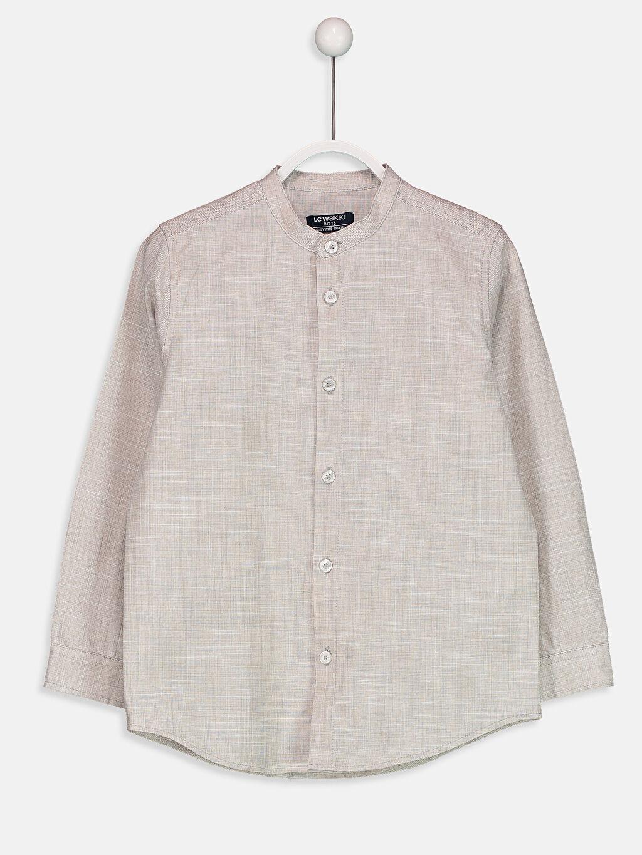 Bej Uzun Kollu Pamuklu Gömlek 8WL526Z4 LC Waikiki