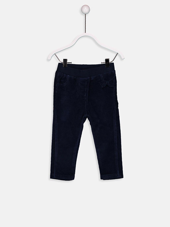 Lacivert Kız Bebek Fitilli Kadife Pantolon 8W0048Z1 LC Waikiki