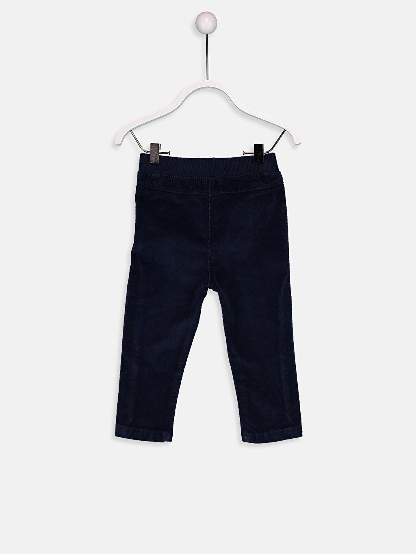 %98 Pamuk %2 Elastan Normal Bel Dar Kız Bebek Fitilli Kadife Pantolon
