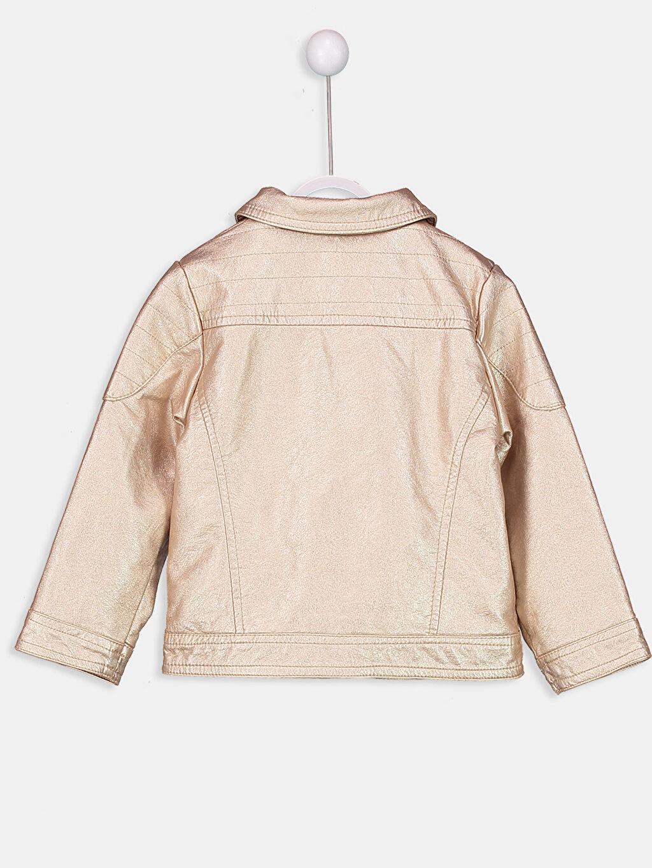 %100 Viskoz %100 Polyester İnce Kaban Kız Bebek Deri Görünümlü Mont