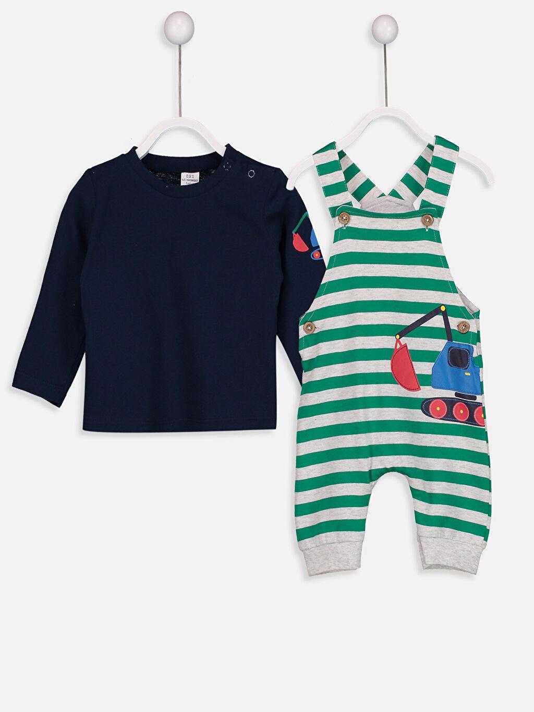 %100 Pamuk %100 Pamuk  Erkek Bebek Baskılı Tişört ve Salopet