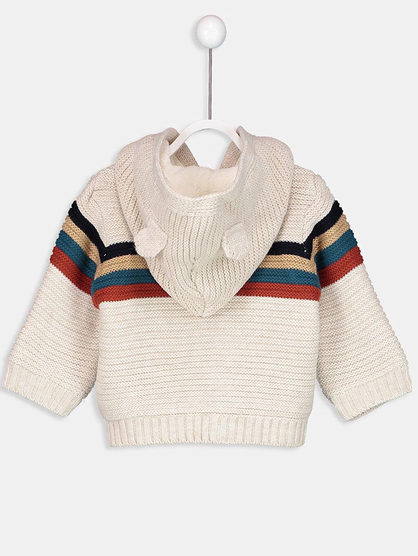 %100 Akrilik %100 Polyester Çizgili Hırka Kapüşonlu Erkek Bebek Kapüşonlu Hırka