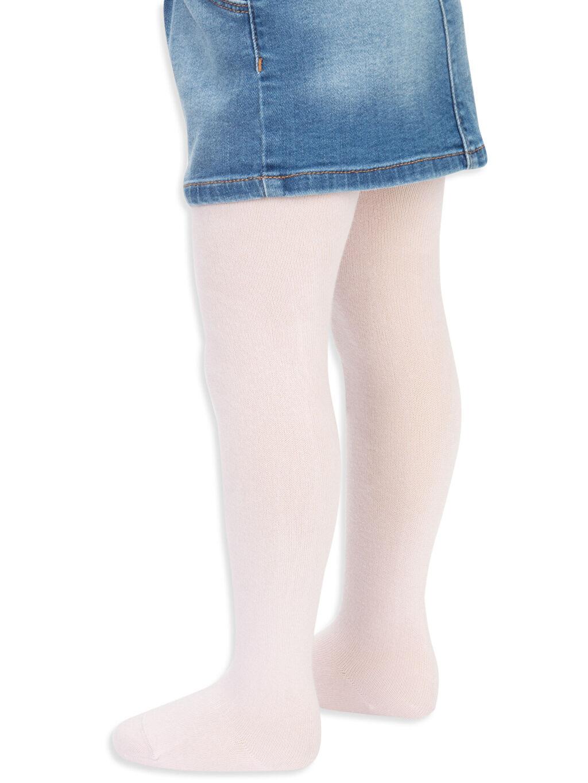 Pembe Kız Bebek Külotlu Çorap 2'li