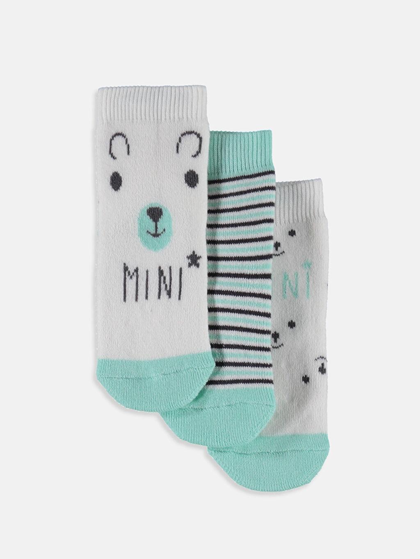 Çok Renkli Erkek Bebek Kaydırmaz Tabanlı Soket Çorap 3'lü 8W3873Z1 LC Waikiki