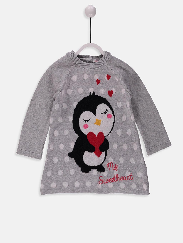 %100 Pamuk %73 Pamuk %25 Polyester %2 Elastan Desenli Kız Bebek Triko Elbise