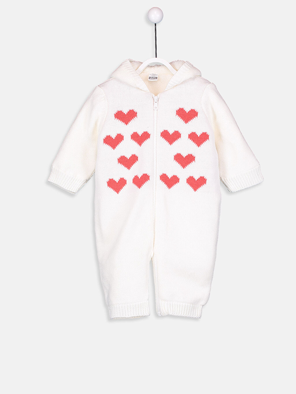 Ekru Kız Bebek Pamuklu Fermuarlı Kapüşonlu Tulum  8W8543Z1 LC Waikiki