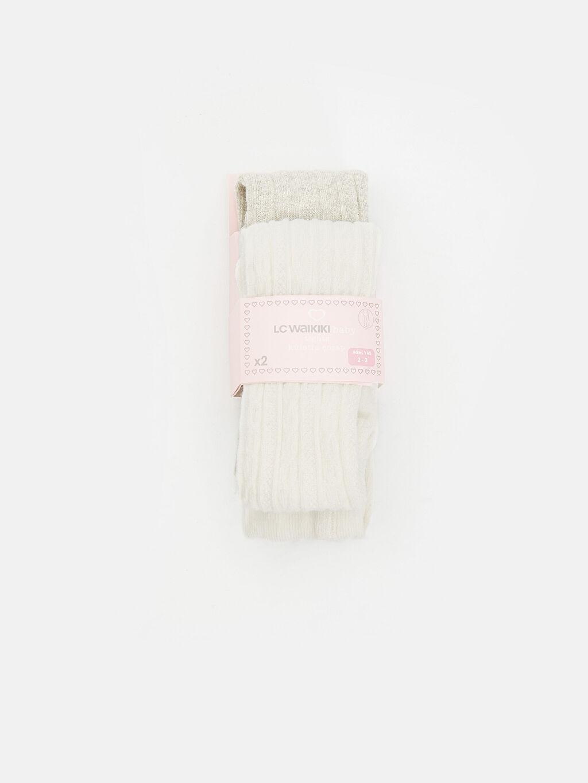 Gri Kız Bebek Jakarlı Külotlu Çorap 2'li 8WL105Z1 LC Waikiki