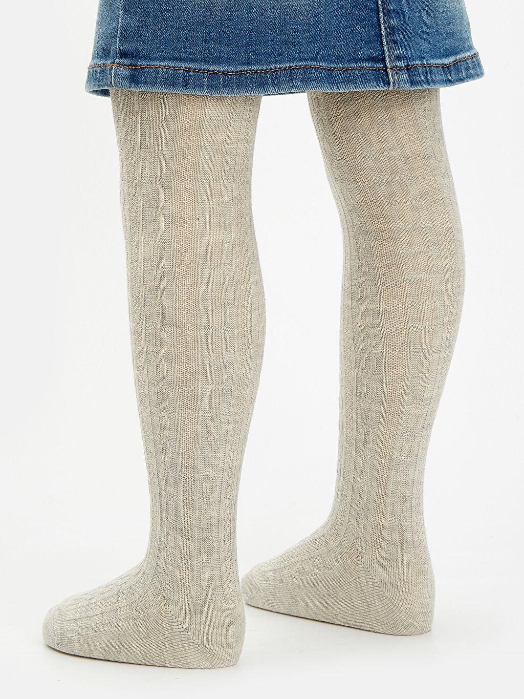 Kız Bebek Jakarlı Külotlu Çorap 2'li