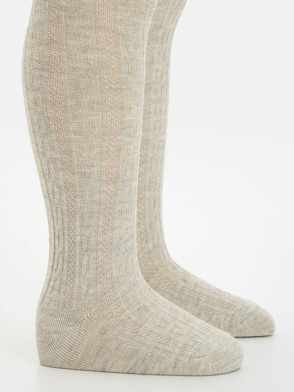 Gri Kız Bebek Jakarlı Külotlu Çorap 2'li