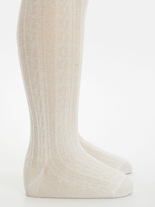 8WL105Z1 Kız Bebek Jakarlı Külotlu Çorap 2'li