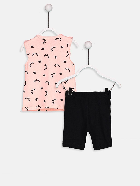 %49 Pamuk %51 Polyester Standart Pijamalar Kız Bebek Baskılı Kapri Pijama Takımı
