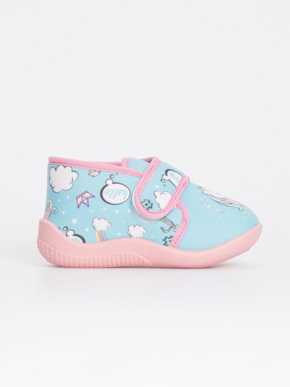 Turkuaz Kız Bebek Unicorn Desenli Ev Ayakkabısı 8WN974Z1 LC Waikiki