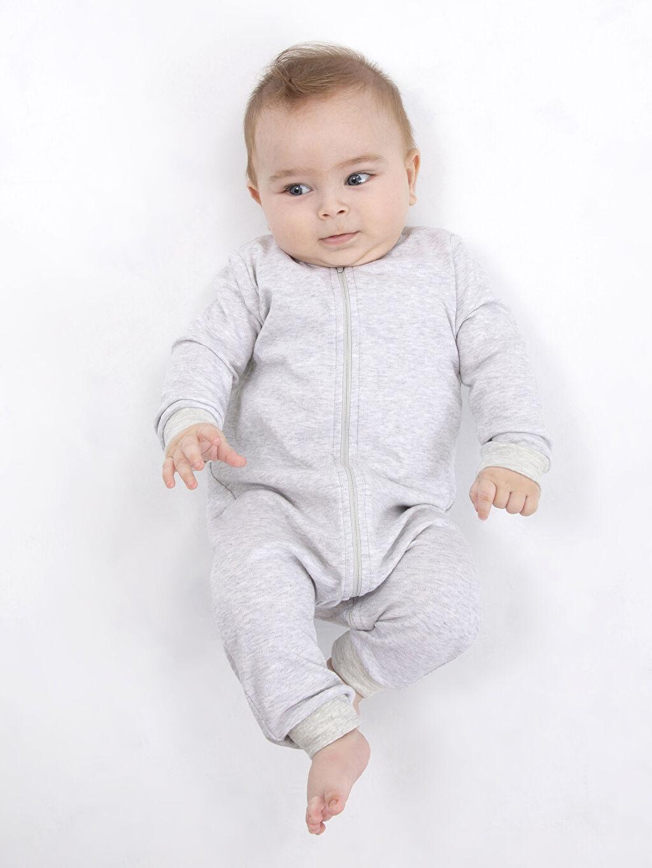 %98 Pamuk %2 Polyester Erkek Bebek Fermuarlı Pamuklu Tulum
