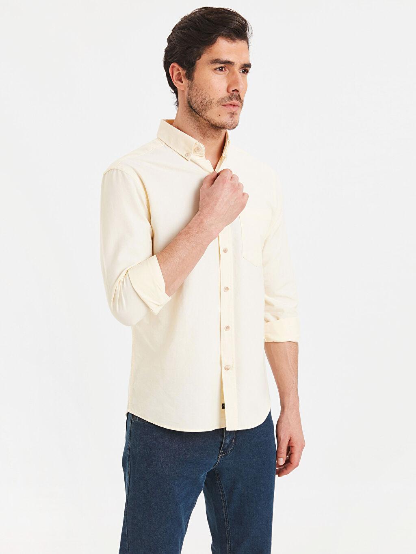 Sarı Regular Fit Uzun Kollu Oxford Gömlek 9S0939Z8 LC Waikiki