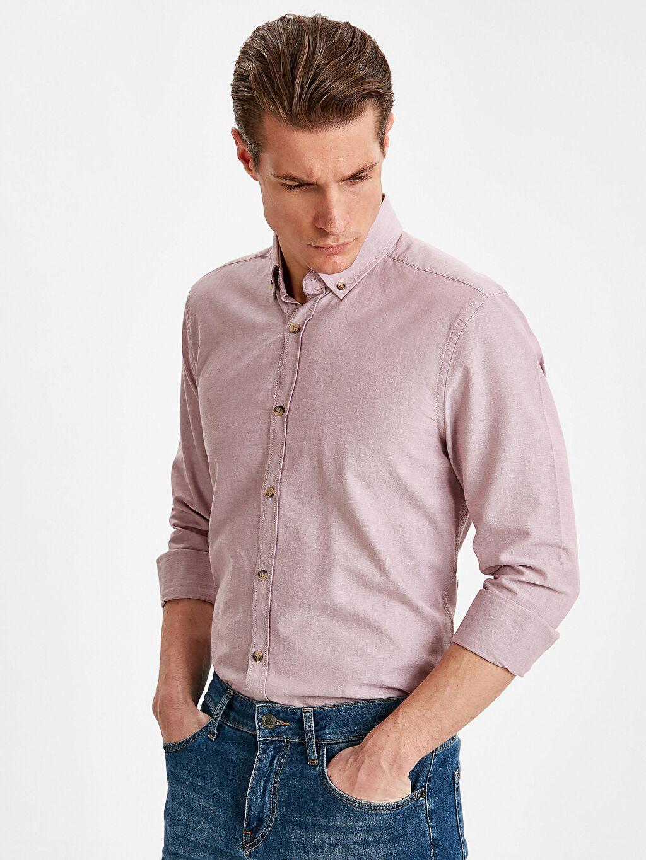 Pembe Slim Fit Uzun Kollu Oxford Gömlek 9S0944Z8 LC Waikiki