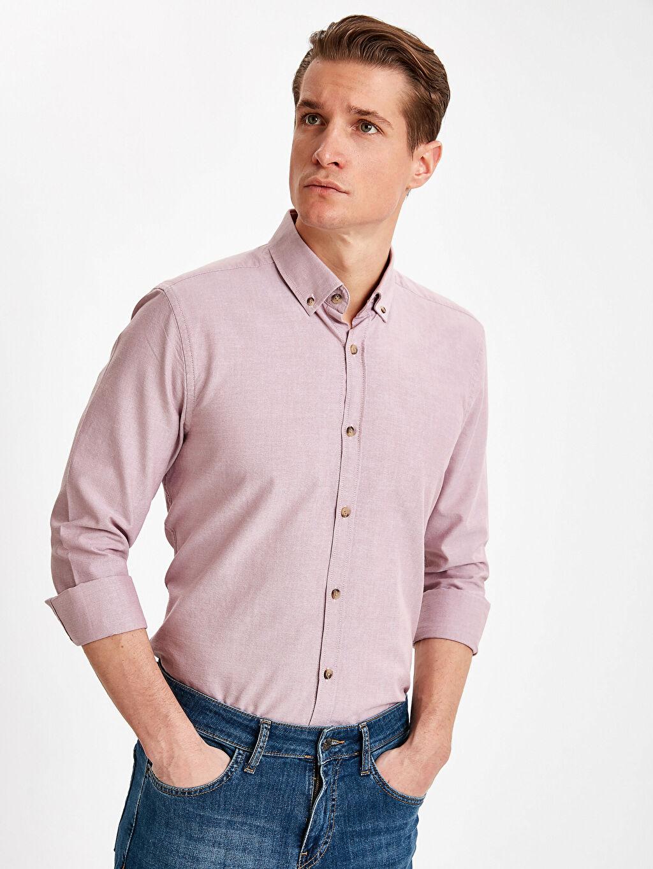 %100 Pamuk Düz Dar Uzun Kol Gömlek Düğmeli Slim Fit Uzun Kollu Oxford Gömlek