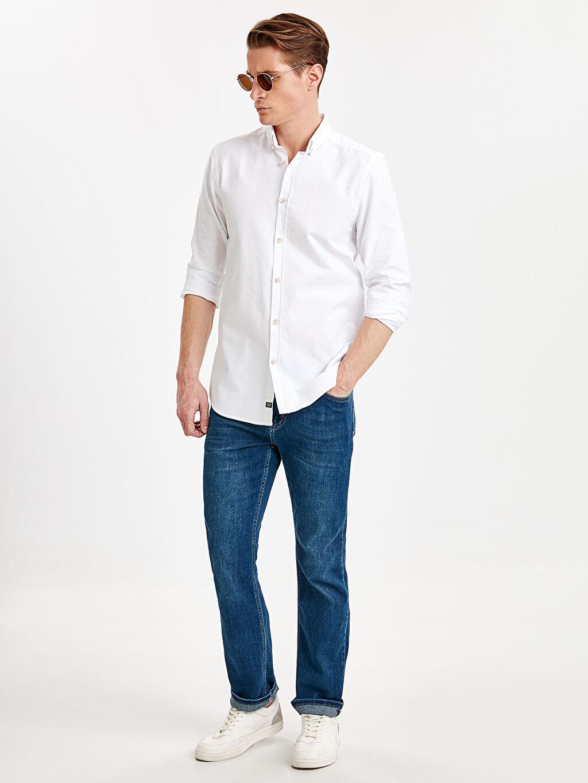 Erkek Slim Fit Uzun Kollu Oxford Gömlek