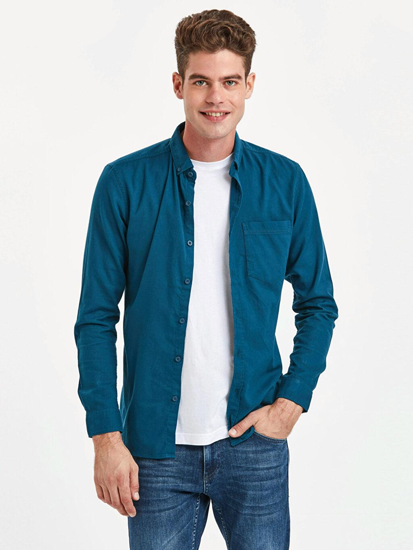 Mavi Extra Slim Fit Uzun Kollu Armürlü Gömlek 9S1602Z8 LC Waikiki