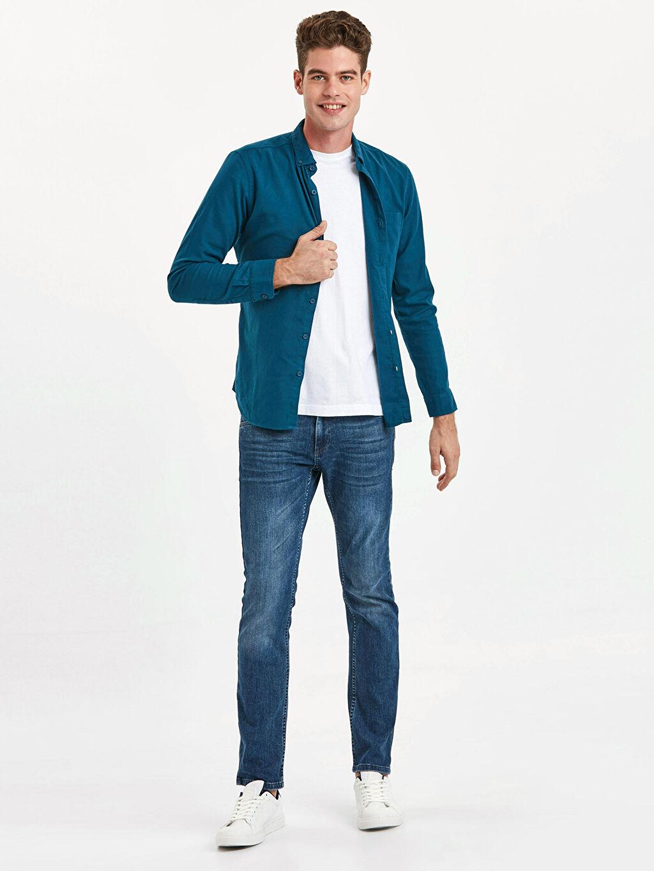 Erkek Extra Slim Fit Uzun Kollu Armürlü Gömlek