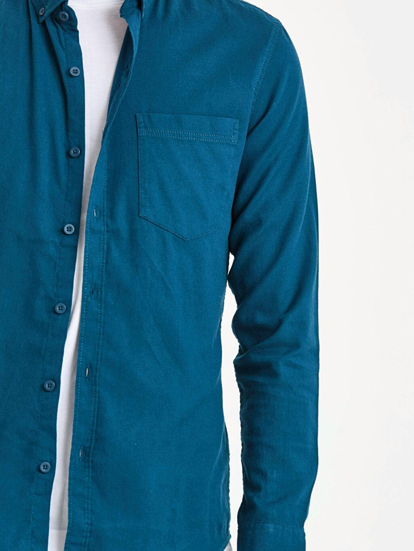 %97 Pamuk %3 Elastan Extra Slim Fit Uzun Kollu Armürlü Gömlek