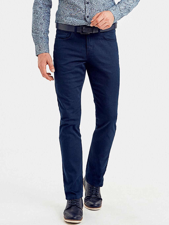 %97 Pamuk %3 Elastan Normal Bel Dar Pilesiz Pantolon Slim Fit Armürlü Pantolon