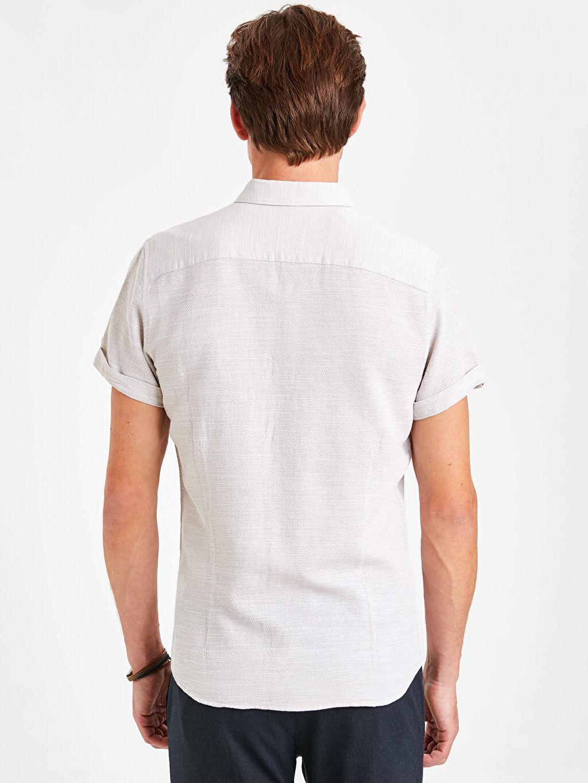 %100 Pamuk Dar Düz Kısa Kol Gömlek Düğmeli Slim Fit Kısa Kollu Dokulu Gömlek