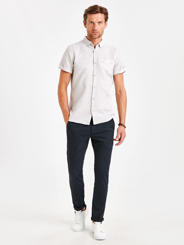 Erkek Slim Fit Kısa Kollu Dokulu Gömlek