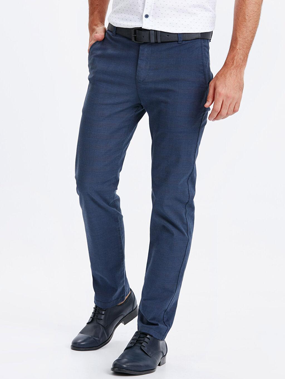 %97 Pamuk %3 Elastan Normal Bel Normal Pilesiz Pantolon Ekose Standart Kalıp Pamuklu Pantolon