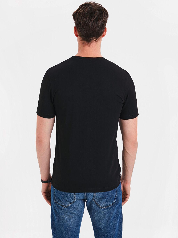 %95 Pamuk %5 Elastan Dar Düz Kısa Kol Tişört V yaka V Yaka Kısa Kollu Pamuklu Tişört
