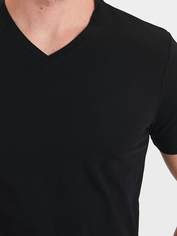 %95 Pamuk %5 Elastan V Yaka Kısa Kollu Pamuklu Tişört