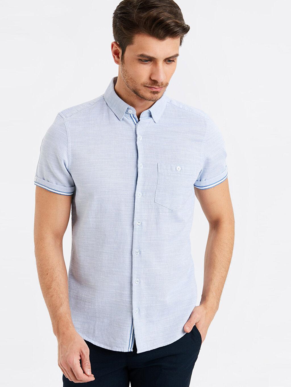 Mavi Slim Fit Kısa Kollu Armürlü Gömlek 9S2801Z8 LC Waikiki