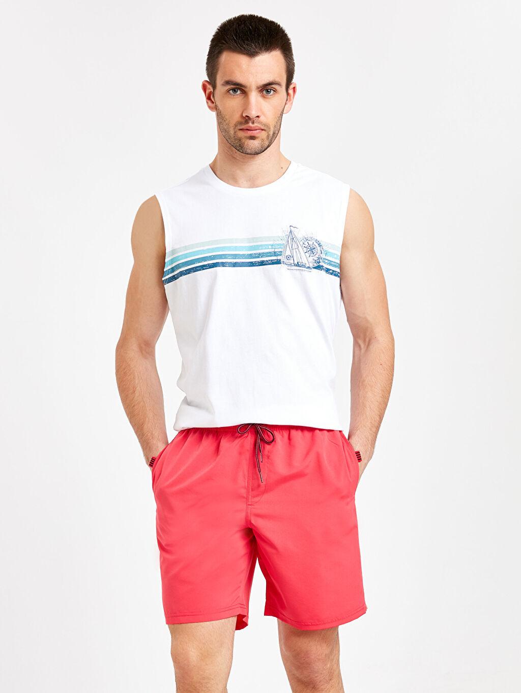 Erkek Diz Hizası Boy Basic Deniz Şortu