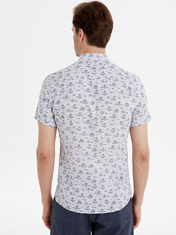 %100 Pamuk Dar Desenli Kısa Kol Gömlek Düğmeli Slim Fit Kısa Kollu Çiçek Baskılı Poplin Gömlek