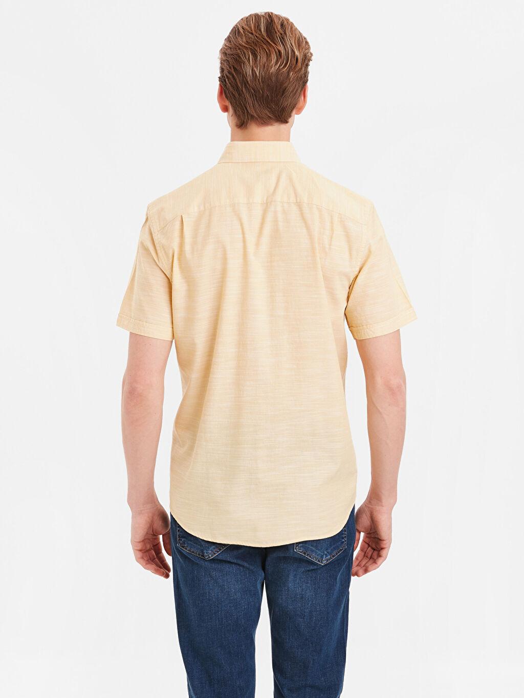 %100 Pamuk Normal Desenli Kısa Kol Gömlek Düğmeli Regular Fit Kısa Kollu Poplin Gömlek