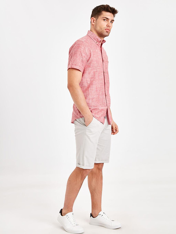 Erkek Regular Fit Keten Karışımlı Gömlek