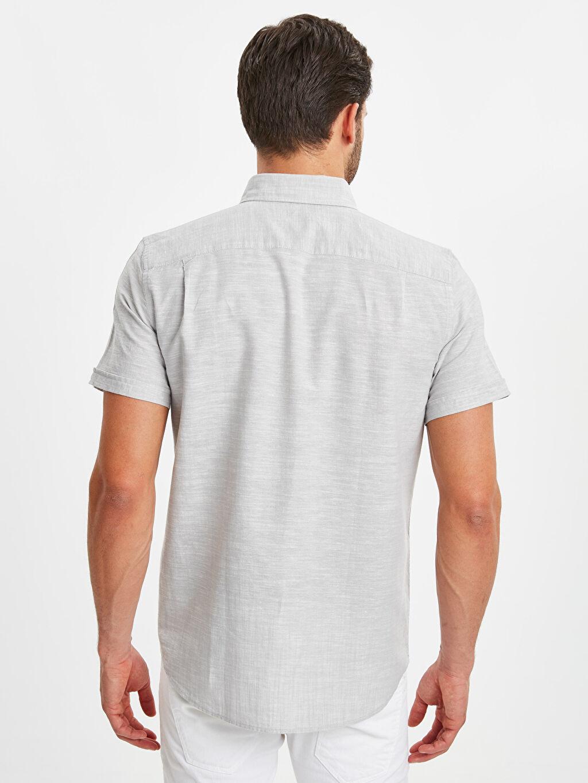 %70 Pamuk %30 Keten Normal Desenli Kısa Kol Gömlek Düğmeli Regular Fit Keten Karışımlı Gömlek