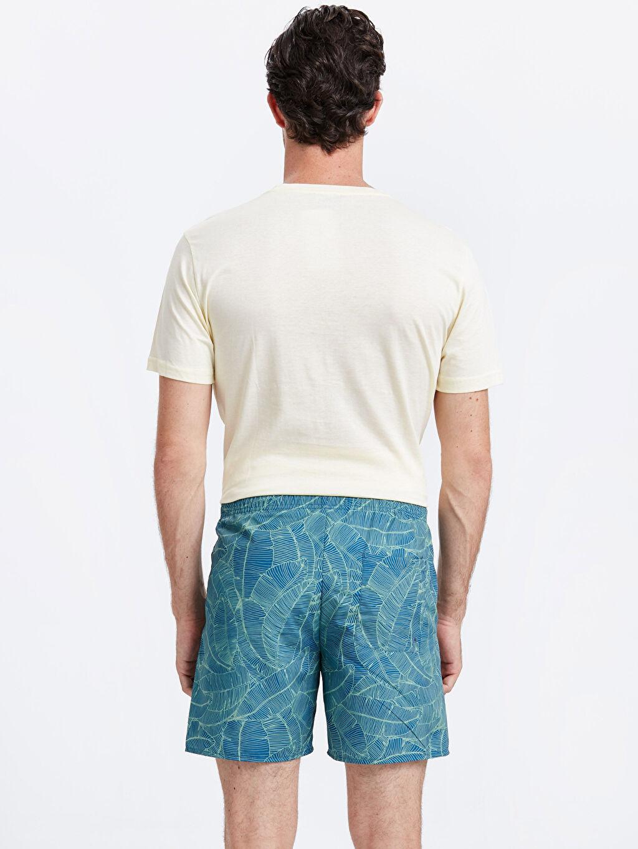 %100 Polyester %100 Polyester  Kısa Boy Desenli Standart Kalıp Yüzme Şortu