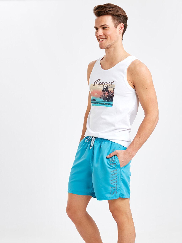 Mavi Diz Hizası Boy Baskılı Deniz Şortu 9S6694Z8 LC Waikiki
