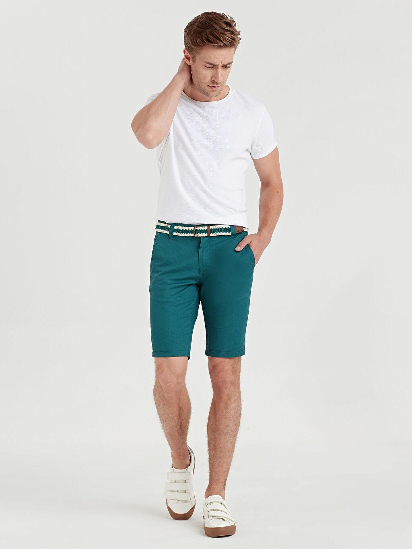 Yeşil Slim Fit Dokulu Bermuda Şort 9S7650Z8 LC Waikiki