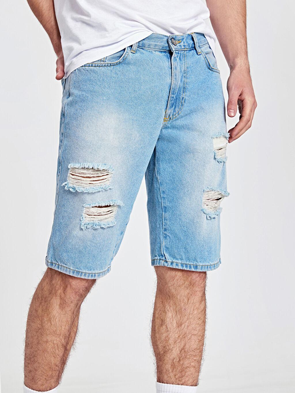 %100 Pamuk Yırtık Detaylı Regular Fit Jean Şort