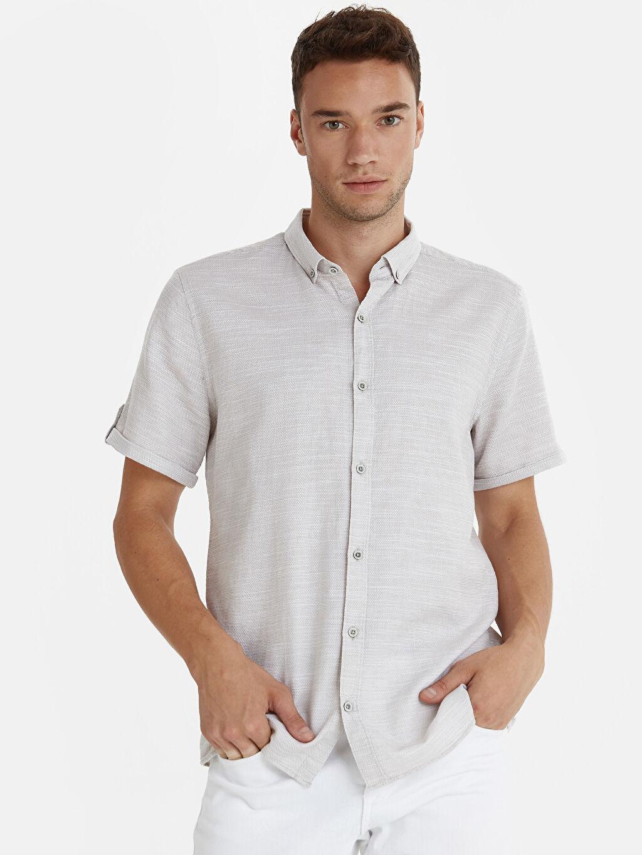 Bej Slim Fit Armürlü Kısa Kollu Poplin Gömlek 9S8071Z8 LC Waikiki