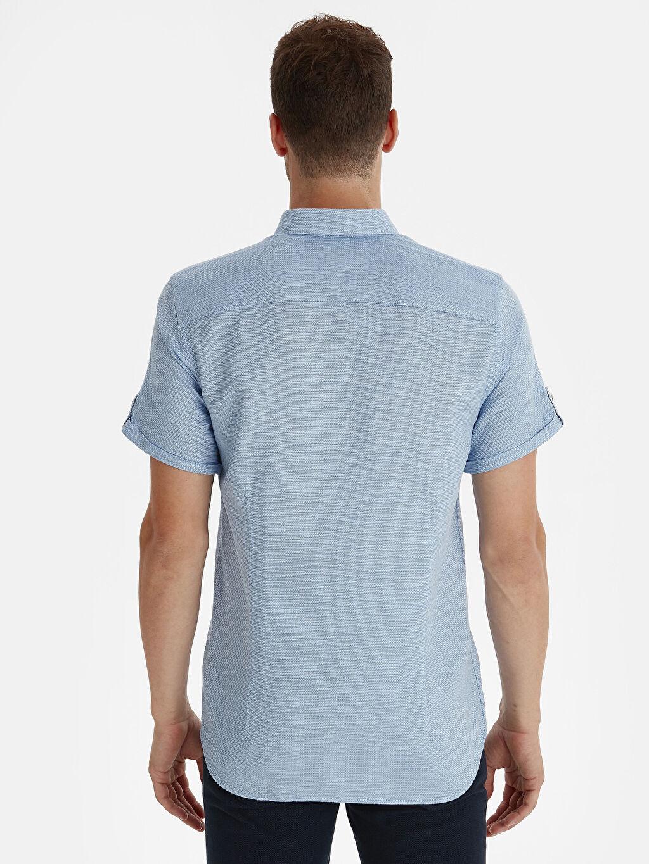 %100 Pamuk Düz Kısa Kol Gömlek Düğmeli Dar Slim Fit Armürlü Kısa Kollu Poplin Gömlek