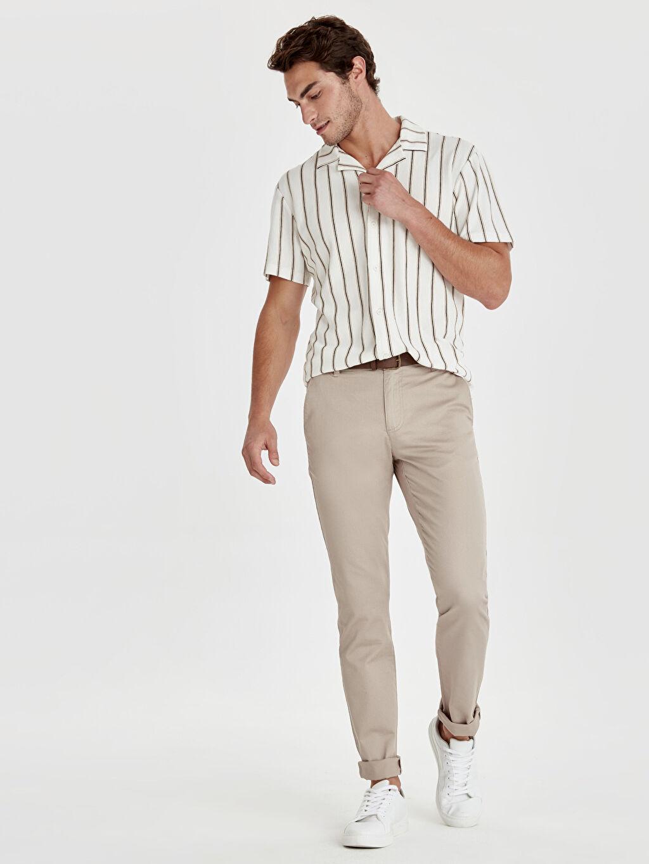 Bej Slim Fit Armürlü Pantolon 9S8885Z8 LC Waikiki