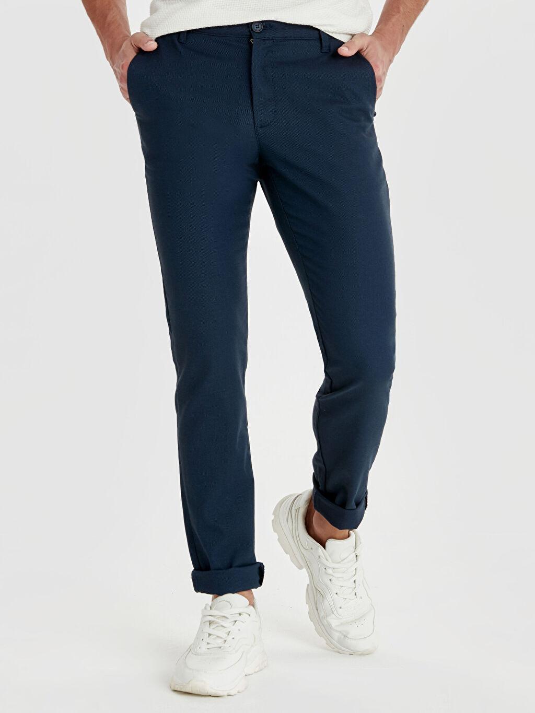 %70 Pamuk %27 Polyester %3 Elastan Normal Bel Dar Pilesiz Pantolon Slim Fit Dokulu Pantolon