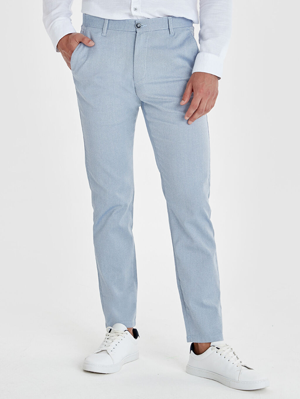 %70 Pamuk %27 Polyester %3 Elastan Normal Bel Dar Pilesiz Pantolon Slim Fit Armürlü Pantolon