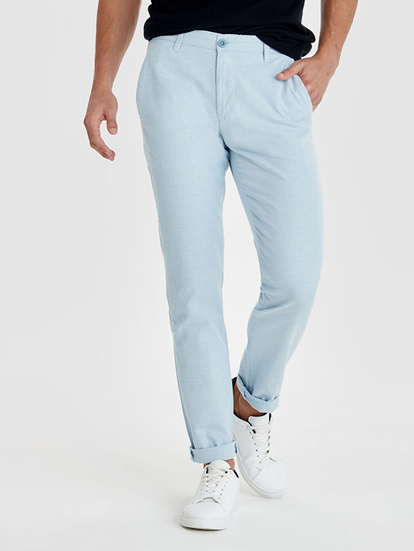 %98 Pamuk %2 Elastan Normal Bel Dar Pilesiz Pantolon Slim Fit Armürlü Pantolon
